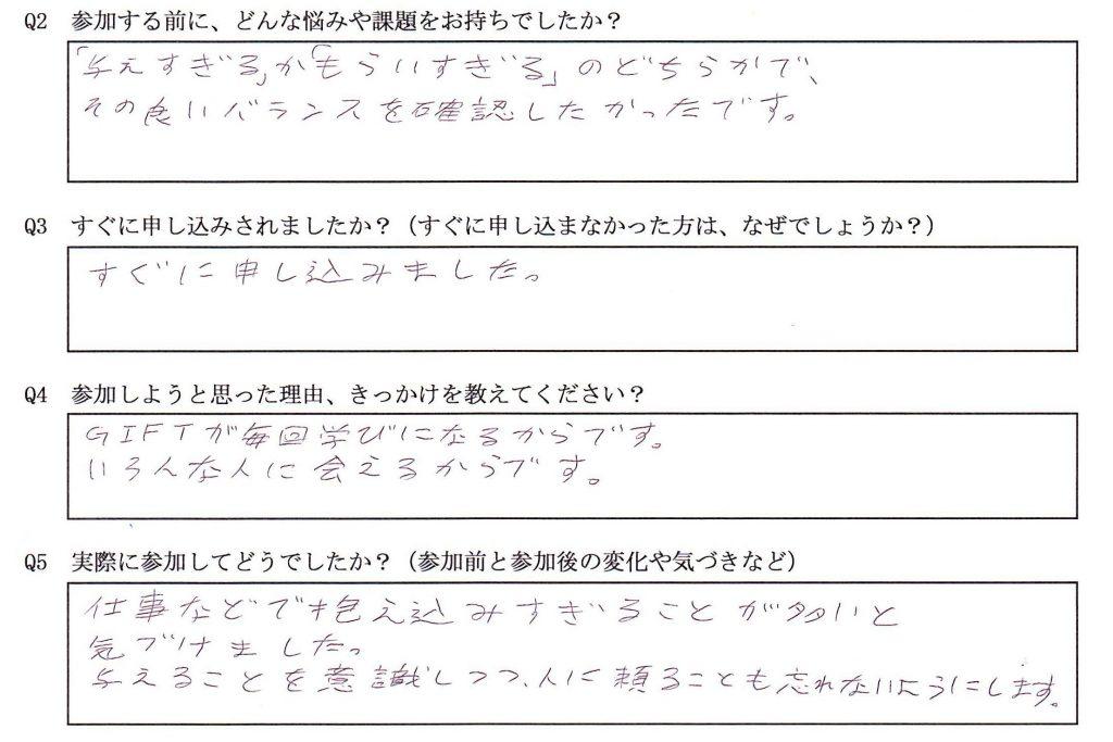コーチング&GIFT in名古屋セミナー参加者の声・感想(森田さん)